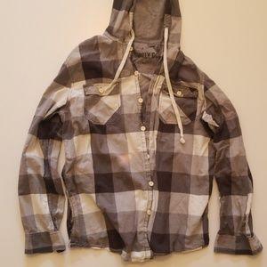 Long sleeved shirt with hood